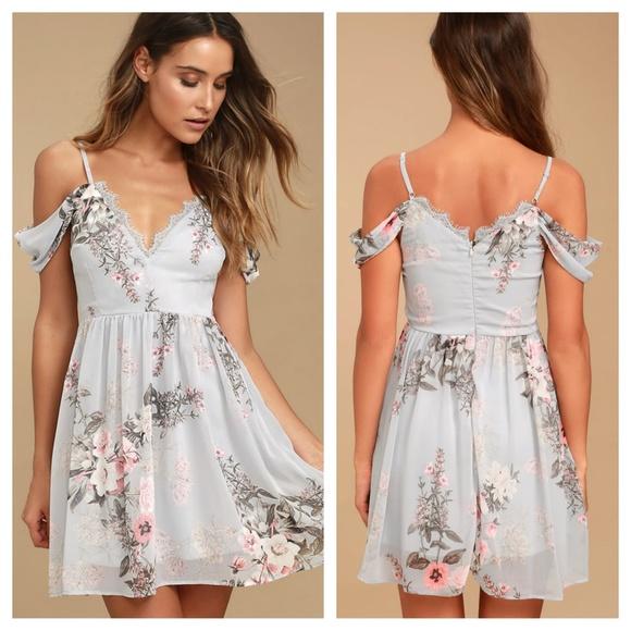 82ffefc51f2 Lulus Verona light blue floral off shoulder dress NWT